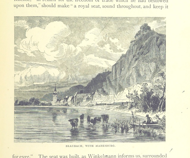 "Rhein-Lahn-Kreis, Rhineland-Palatinate, Germany from ""The Rhine, from its source to the sea. Translated from the German [of Carl Stieler, H. Wachenhausen, and F. W. Hackländer] by G. C. T. Bartley ... With ... illustrations. New and revised edition"""