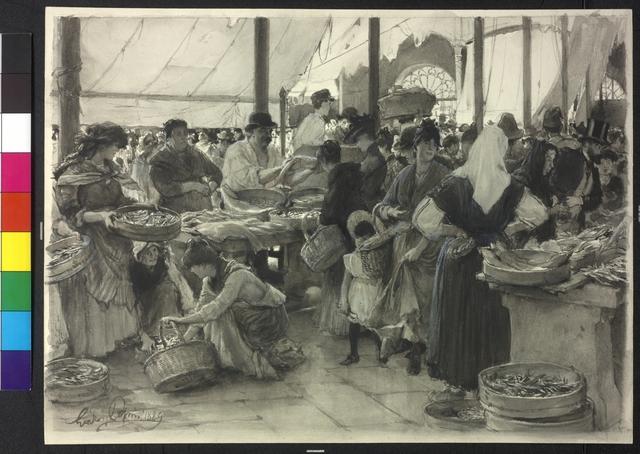 Leben auf dem Fischmarkt in Triest