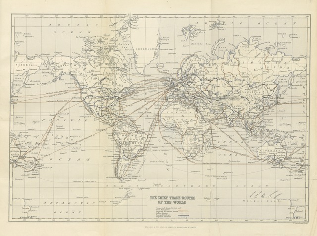 "map from ""Commercial Geography: based on the latest researches and statistical returns. A complete manual of the countries of the world ... their natural productions ... manufactures, etc. ... Translated by F. Muirhead ... With a map of the chief trade routes"""