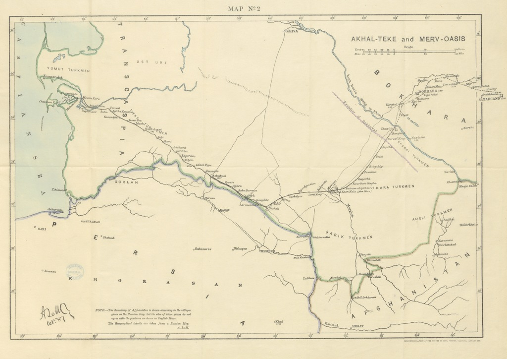 """map from """"From London to Bokhara, and a ride through Persia"""""""
