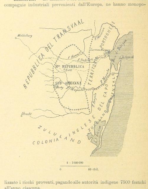 """map from """"Possedimenti e protettorati Europei in Africa, 1889. Raccolta di notizie ... sulle regioni costiere africane Corredato di ... disegni"""""""