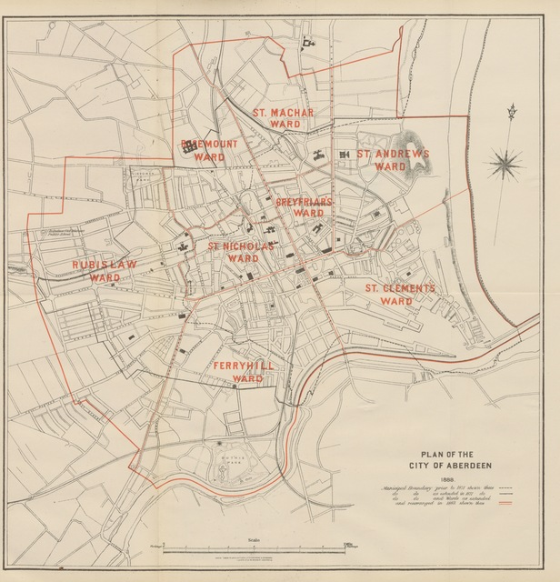 """map from """"Record of municipal affairs in Aberdeen, since the passing of the Burgh Reform Act in 1833. [With a folded plan.]"""""""