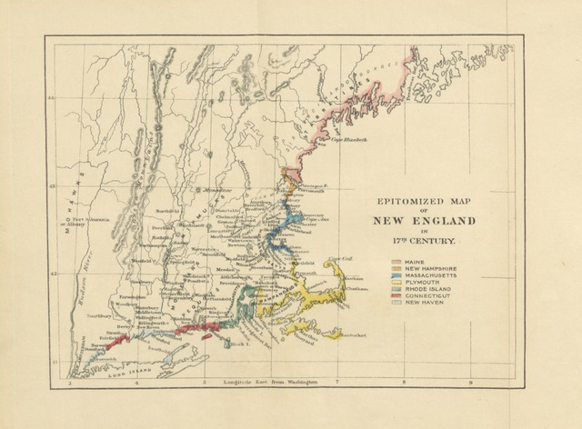 "map from ""The Beginnings of New England; or, the Puritan Theocracy in its relations to civil and religious liberty. (Bibliographical Note.)"""