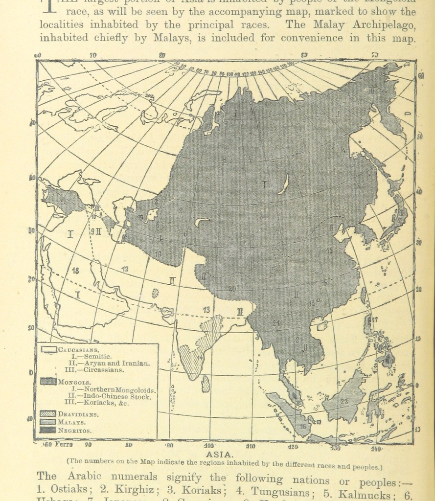 """map from """"The World's Inhabitants; or, Mankind, animals & plants ... With ... illustrations, etc"""""""