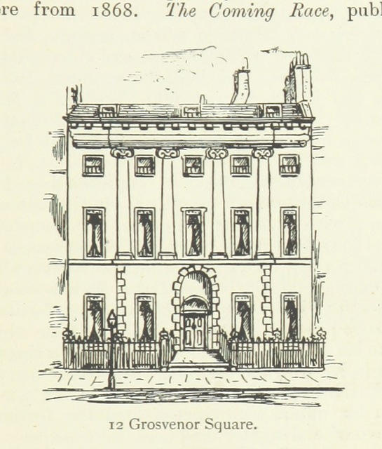 """12 Grosvenor Square from """"[Memorable London Houses: a handy guide, with ... anecdotes and a reference plan ... With ... original illustrations from drawings made ... by G. N. Martin.]"""""""