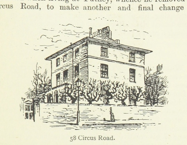 """58_Circus_Road from """"[Memorable London Houses: a handy guide, with ... anecdotes and a reference plan ... With ... original illustrations from drawings made ... by G. N. Martin.]"""""""