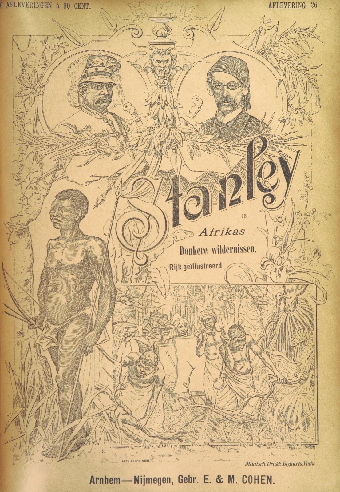 """cover from """"Stanley in Afrika's donkere wildernissen, etc. [Translated from """"In Darkest Afrika"""" by H. Tiedeman.]"""""""