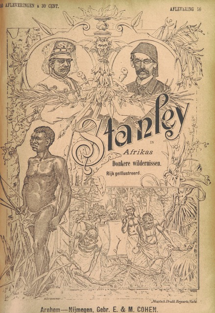 "cover from ""Stanley in Afrika's donkere wildernissen, etc. [Translated from ""In Darkest Afrika"" by H. Tiedeman.]"""