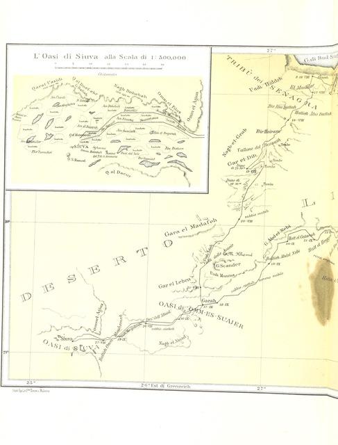 """map from """"All'Oasi di Giove Ammone. Viaggio ... Con 164 incisioni e una carta, etc"""""""