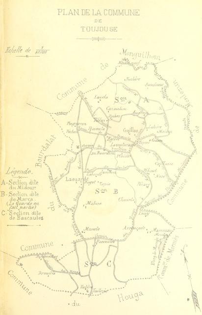 """map from """"Diocèse d'Auch. Histoire paroissiale. Monguilhem et Toujouse"""""""