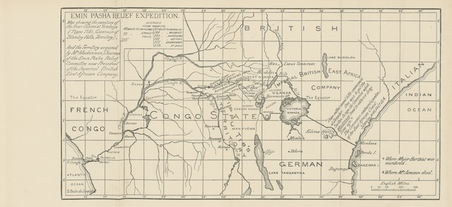 "map from ""The Life of E. M. Barttelot ... An account of his services for the relief of Kandahar, of Gordon, and of Emin, from his letters and diary, by W. L. Barttelot. [With plates, including a portrait, and maps.]"""