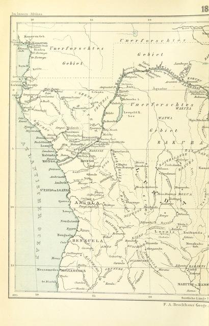 """map from """"Im Innern Afrikas. Die Erforschung des Kassai während der Jahre 1883, 1884, und 1885. Von H. von Wissmann, L. Wolf, C. von François, Hans Mueller. Dritte Auflage. Mit ... Abbildungen und 3 Karten"""""""