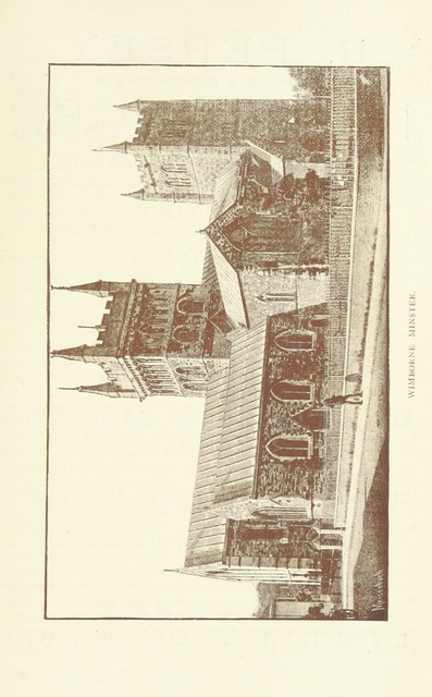 """Wimborne Minster from """"[A Descriptive Guide to Bournemouth, Christchurch, Wimborne and Corfe Castle ... Illustrated with map and photographs.]"""""""
