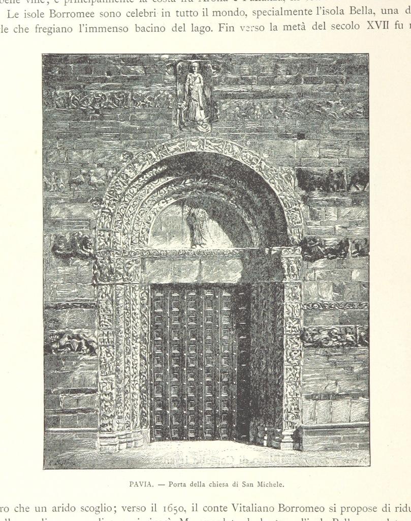 """Basilica of San Michele Maggiore from """"L'Italia Superiore ... Belle arti, monumenti, ricordi storici, paesaggi, costumi, etc. [Translated from """"L'Italie du Nord.']"""""""