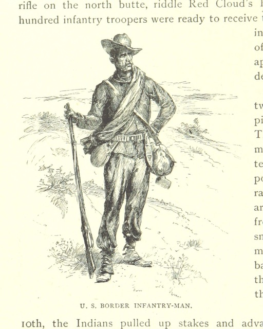 """infantryman from """"The Indian Wars of the United States from the first settlement at Jamestown in 1607 to the close of the great uprising of 1890-91 ... Illustrated"""""""