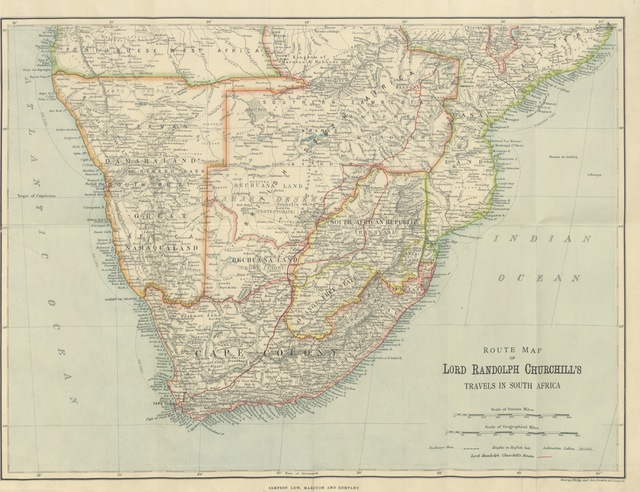 """map from """"Men, Mines and Animals in South Africa. [Reprinted from the """"Daily Graphic."""" With illustrations.]"""""""