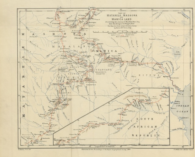 """map from """"The Ruined Cities of Mashonaland: being a record of excavation and exploration in 1891 ... With a chapter on the orientation and mensuration of the temples by R. M. W. Swan. [With plates.]"""""""