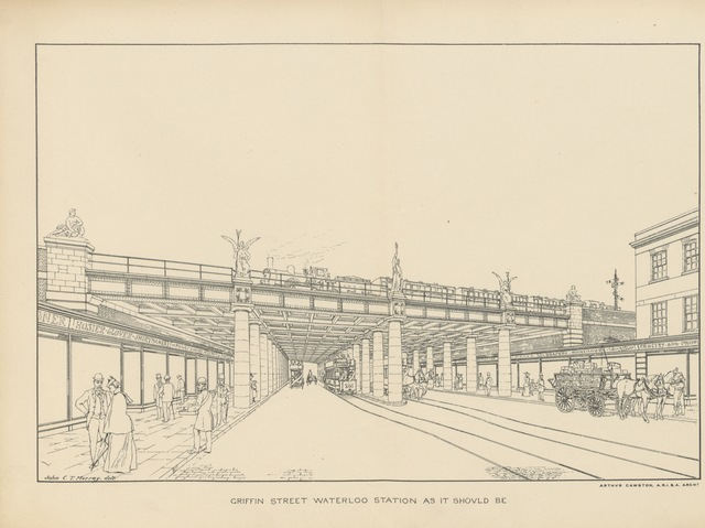 "architecture from ""A Comprehensive Scheme for Street Improvements in London, accompanied by maps and sketches"""