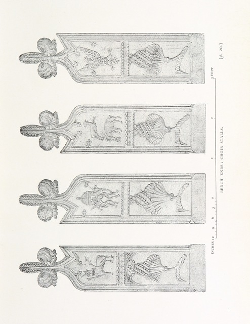 "choir stalls from ""Sefton. A descriptive and historical account, comprising the collected notes ... of ... E. Horley ... Together with the records of the Mock Corporation"""