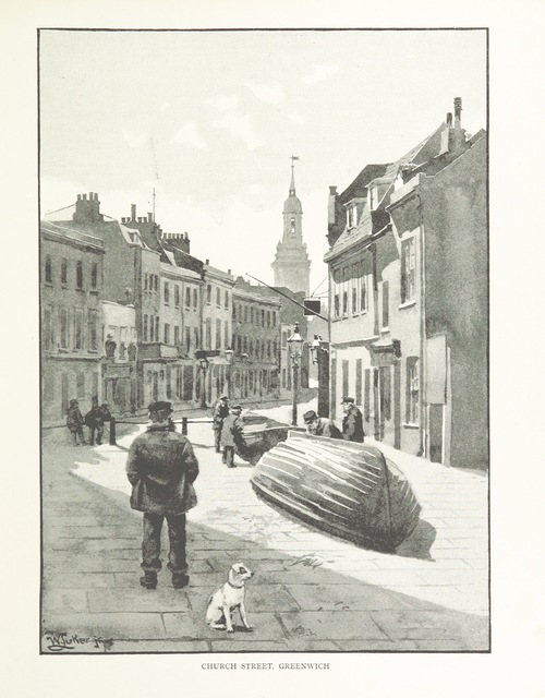 "Church Street from ""London City Suburbs as they are to-day ... Illustrated by W. Luker ... from original drawings"""