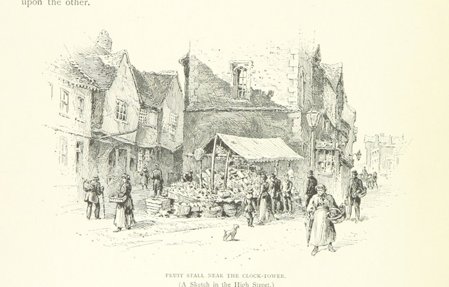 "fruit stall from ""St. Albans, historical & picturesque. With an account of the Roman city of Verulamium ... Illustrated by Frederic G. Kitton"""