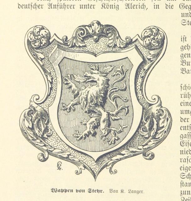 """heraldry from """"Heiṃatkunde von Steyr, etc"""""""
