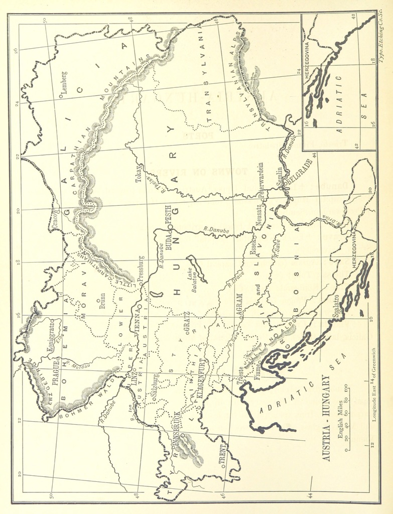 "Hungary from ""[Outlines of Geography for the use of lower and middle forms of schools and of candidates for the Army Preliminary Examinations ... With numerous maps.]"""