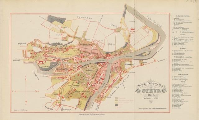 """map from """"Heiṃatkunde von Steyr, etc"""""""