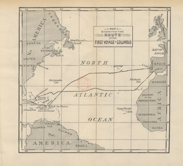 """map from """"In the Wake of Columbus. Adventures of the Special Commissioner sent by the World's Columbian Exposition to the West Indies ... With ... illustrations, etc"""""""