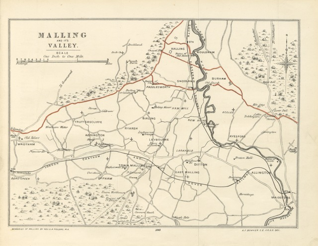 "map from ""Memories of Malling and its Valley. With a fauna and flora of Kent, etc"""