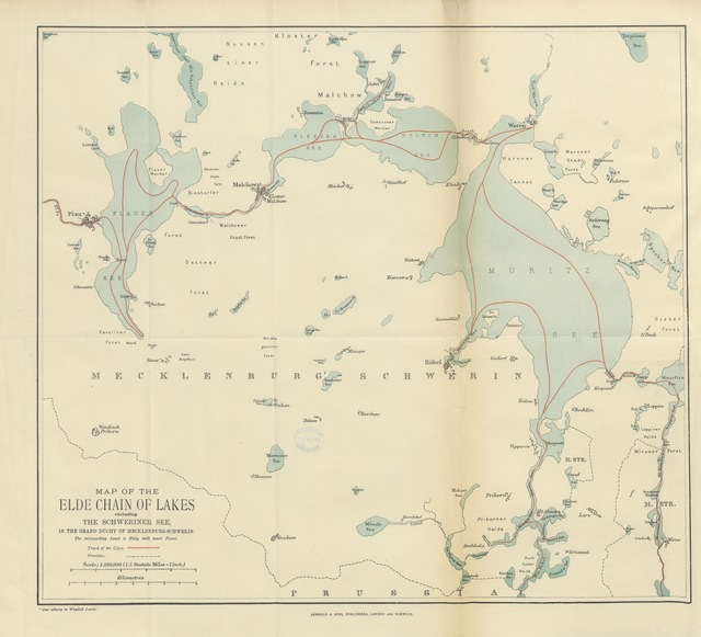 """map from """"Our Wherry in Wendish Lands; from Friesland, through the Mecklenburg Lakes, to Bohemia ... Second edition"""""""