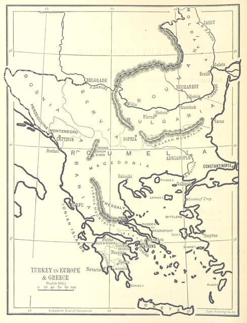 "map from ""[Outlines of Geography for the use of lower and middle forms of schools and of candidates for the Army Preliminary Examinations ... With numerous maps.]"""