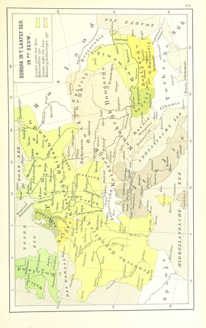"""map from """"Overzicht der algemeene en vaderl. geschiedenis, met 20 historische Kaarten, voor de lagere Klassen, etc"""""""