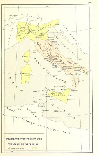 """map from """"Overzicht der algemeene en vaderl. geschiedenis, met 20 historische Kaarten, voor de hoogere Klassen, etc"""""""