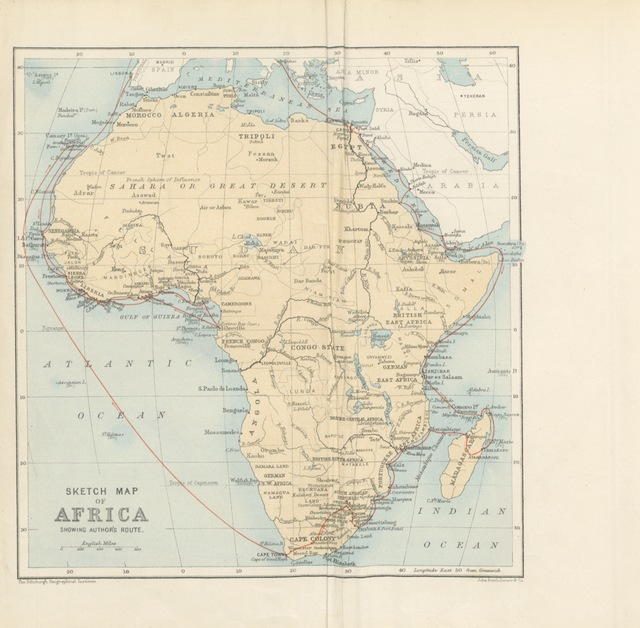 """map from """"Round the Black Man's Garden ... With illustrations, etc. [An account of travels in Africa.]"""""""