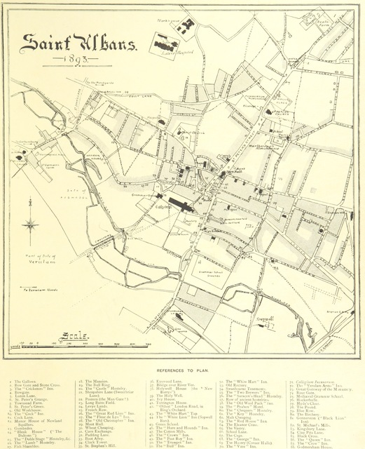 """map from """"St. Albans, historical & picturesque. With an account of the Roman city of Verulamium ... Illustrated by Frederic G. Kitton"""""""