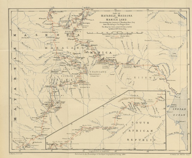 """map from """"[The Ruined Cities of Mashonaland: being a record of excavation and exploration in 1891 ... With a chapter on the orientation and mensuration of the temples by R. M. W. Swan. [With plates.]]"""""""