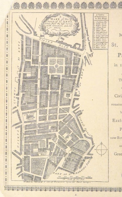 "map from ""The Story of Old Soho. Picturesque Memories of Mid-London ... With an account of the Bazaar and Garden Fête in ... Soho Square, June ... 1893, etc"""
