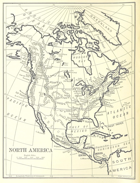 """North America from """"[Outlines of Geography for the use of lower and middle forms of schools and of candidates for the Army Preliminary Examinations ... With numerous maps.]"""""""