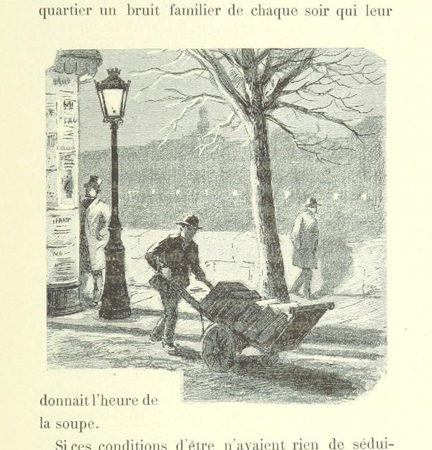 """winter from """"Bouquinistes et Bouquineurs. Physiologie des Quais de Paris du Pont Royal au Pont Sully ... Illustrations d'E. Mas"""""""