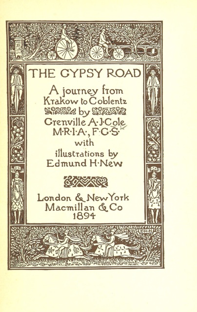 "cover from ""The Gypsy Road: a journey from Krakow to Coblentz ... With illustrations by E. H. New"""