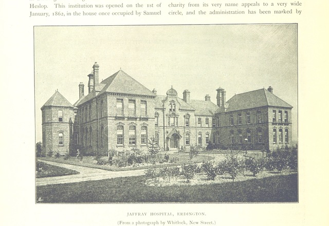 """Jaffray Hospital from """"The Making of Birmingham: being a history of the rise and growth of the Midland metropolis ... With ... illustrations, etc"""""""