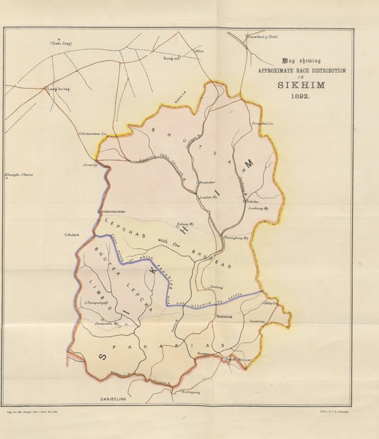 """map from """"The Gazetteer of Sikhim. With an introduction by H. H. Risley ... Edited in the Bengal Government Secretariat. [With plates.]"""""""