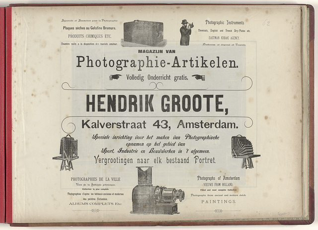 reclame voor Hendrik Groote's Magazijn van Fotografie- artikelen, portretten, instrumenten, onderricht etc.