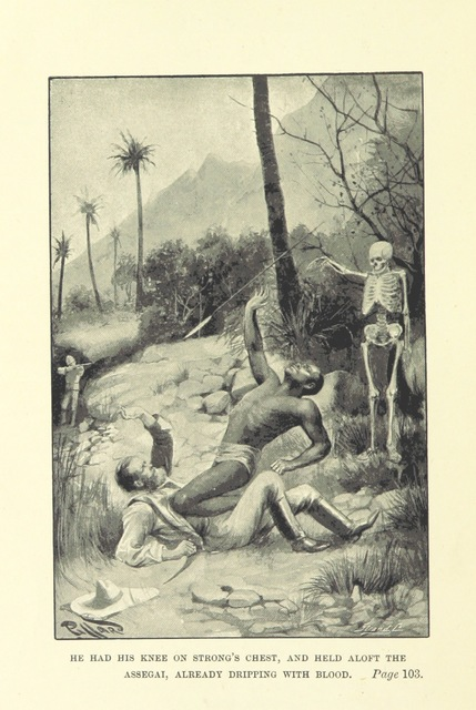 """fantasy illustration from """"The City of Gold. A tale of sport, ... travel, and adventure in the heart of the Dark Continent. With illustrations by H. Piffard"""""""