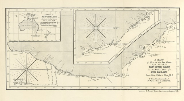 "map from ""A First Fleet Family. A hitherto unpublished narrative of certain remarkable adventures compiled from the papers of Sergeant William Dew of the Marines, by Louis Becke and Walter Jeffery"""