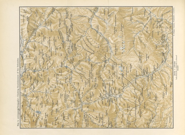 "map from ""Climbing Reminiscences of the Dolomites ... With introduction by E. J. Garwood ... Translated by M. A. Vialls. With illustrations and map"""