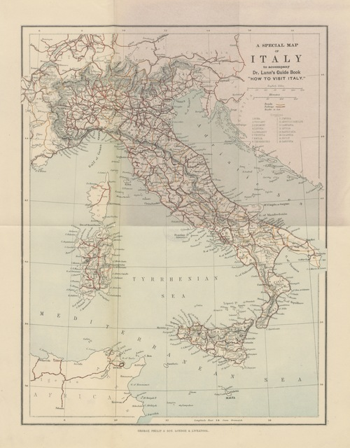 "map from ""How to visit Italy. A guide-book to the chief towns of Italy, with contributions by ... Dean Farrar ... O. Browning ... Edited by H. S. Lunn"""