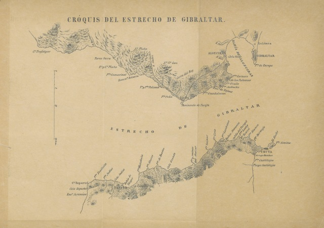 "map from ""Importancia militar de Gibraltar y medios de que dispone España para anularla. [With maps.]"""