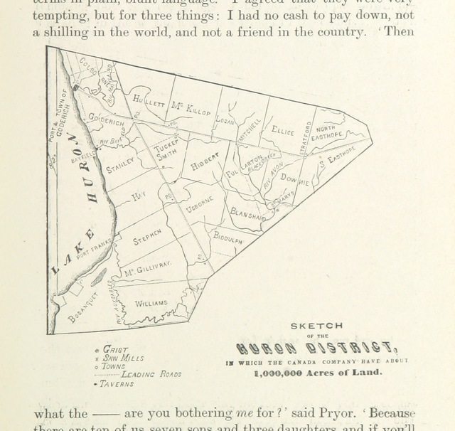 "map from ""In the Days of the Canada Company: the story of the settlement of the Huron tract and a view of the social life of the period, 1825-1850 ... With an introduction by G. M. Grant"""
